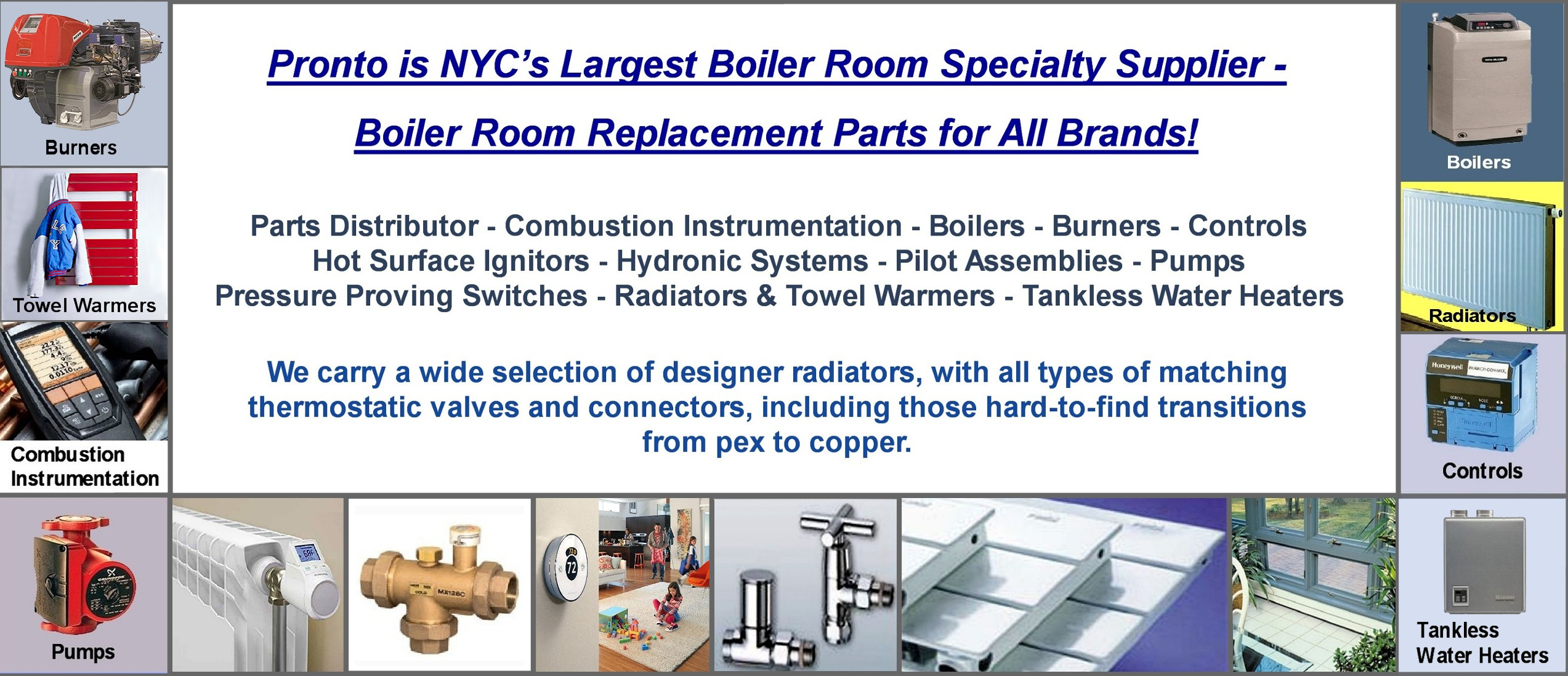 Pronto Gas Heating Supplies | NY Bronx Boiler-Room OEM Parts
